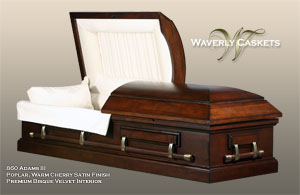 860 - Adams III, Wood Casket, Poplar, Warm Cherry Satin Finish, Premium Bisque Velvet Interior