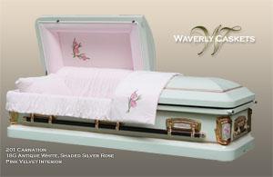 201 Carnation,18G, Antique White, Shaded Silver Rose, Pink Velvet Interior