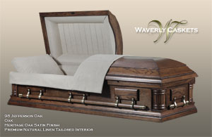 98 - Jefferson, Wood Casket, Oak, Heritage Oak Satin Finish, Premium Natural Linen Tailored Interior