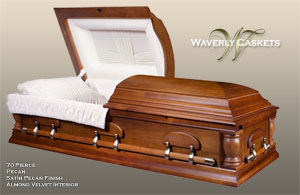70 - Pierce, Wood Casket, Pecan Veneer, Satin Pecan Finish, Almond Velvet Interior
