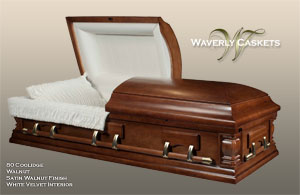 80 - Coolidge, Wood Casket, Walnut Veneer, Satin Walnut Finish, White Velvet Interior